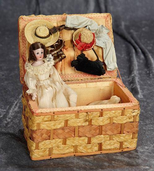 """7"""" German bisque """"Little Women"""" doll, SH 1160, original wig, in layette. $300/400"""