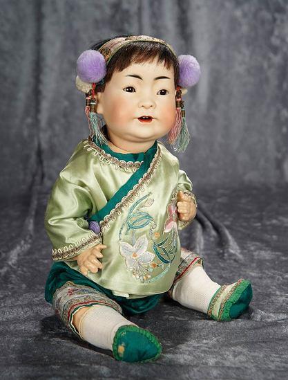 "16"" German bisque portrait of Chinese child, model 243, by Kestner. $1800/2300"