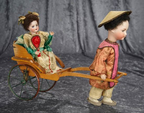 """16""""l. Rare French Mechanical Toy """"Lady in Rickshaw"""" by Roullet et Decamps. $1600/2300"""
