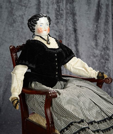 """26"""" German porcelain lady doll with sculpted black curly hair, lovely antique costume. $400/600"""