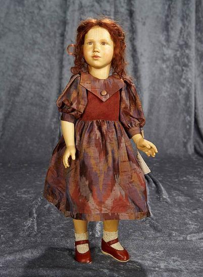 """16"""" Carved wooden artist doll by Regina Sandreuter. $800/1200"""