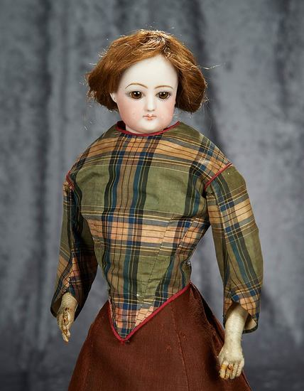 """17"""" French bisque poupee by Gaultier with rare amber brown glass eyes. $1100/1300"""