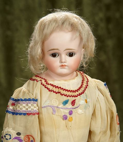 """22"""" German bisque doll by Kestner, closed mouth, fabulous costume. $500/700"""