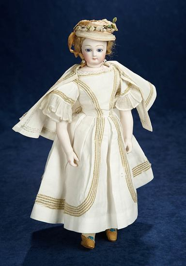 Beautiful French Bisque Poupee Attributed to Jumeau with Exquisite Costume 3500/4500