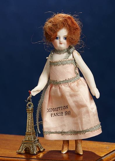 """French All-Bisque Mignonette with Rare """"Exposition Paris 1889"""" Costume 600/900"""