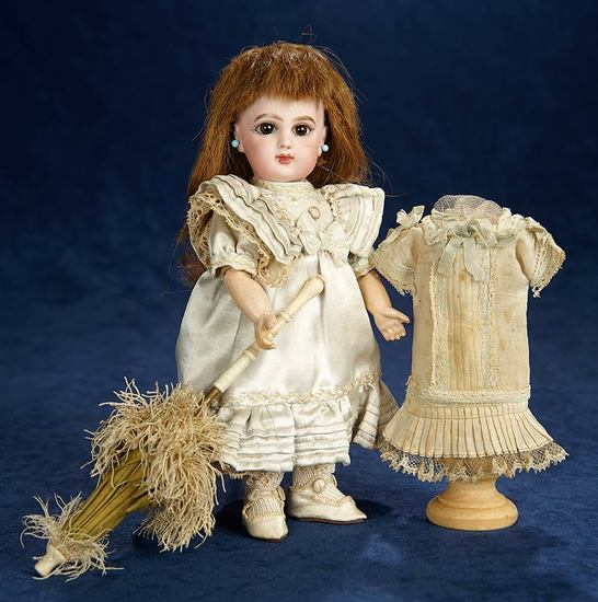 Petite French Bisque Bebe E.J., Size 1, by Emile Jumeau, Original Costumes and Shoes 6500/8500
