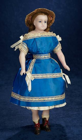 Fine All-Original English Poured Wax Child Doll in Superb Early Silk Costume 1200/1600