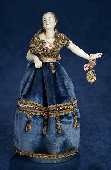 German Porcelain Lady Doll with Elegant Coiffure 500/700