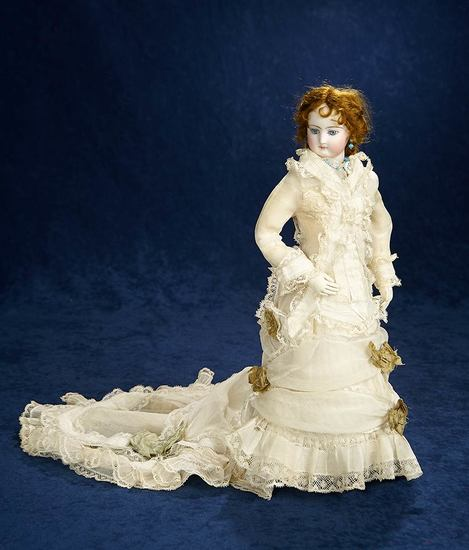 Outstanding French Bisque Poupee from Simonne with Original Costume and Jewelry 4500/6500