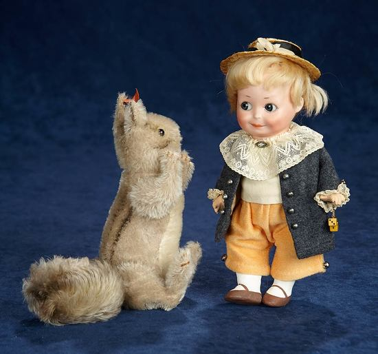 German Grey Squirrel with Bushy Tail by Steiff with Rare Red Cloth Label  600/900