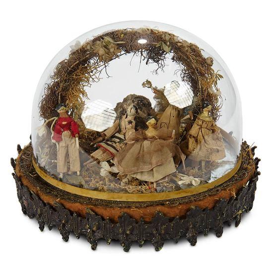 Five Miniature Grodnertal Wooden Dolls in Domed Arrangement 700/1000
