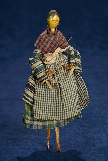 Grodnertal Wooden Doll with Yellow Comb 300/500