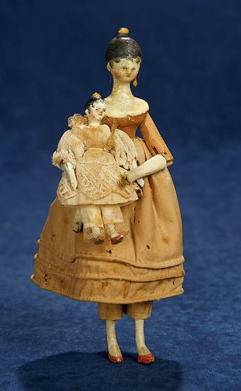 Grodnertal Wooden Doll with Tucked Comb Coiffure and her Miniature Matching Doll 800/1100