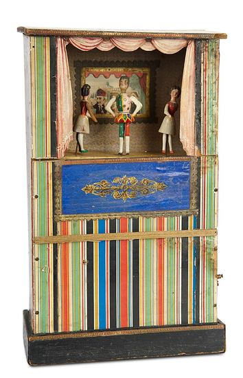 Rare and Charming German Wooden Toy Musical Mechanical Theatre 800/1200