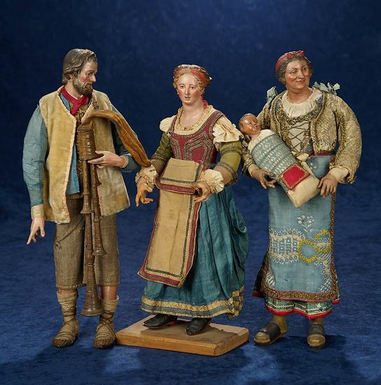 Fine Early Family Of Neopolitan Dolls in Original Costumes 1400/1800