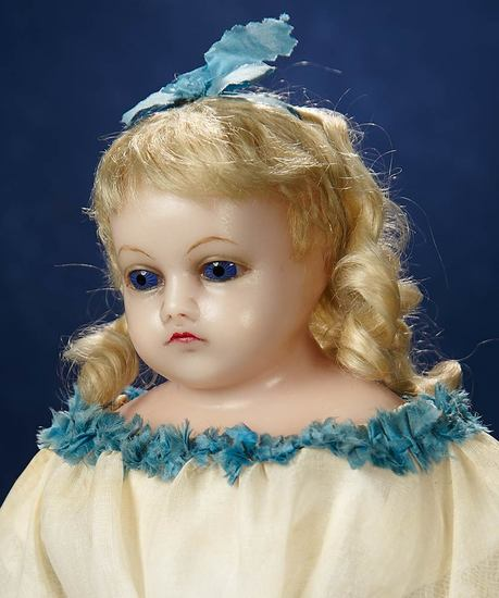 English Poured Wax Child Doll with Original Ribbon-Trimmed Hair 800/1200