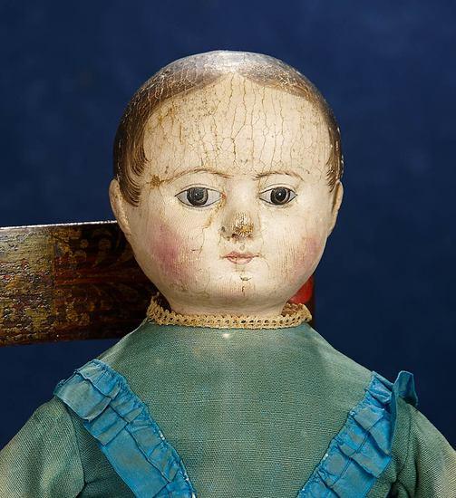 American Cloth Brown-Eyed Doll by Izannah Walker with Wispy Curls 9000/12,000