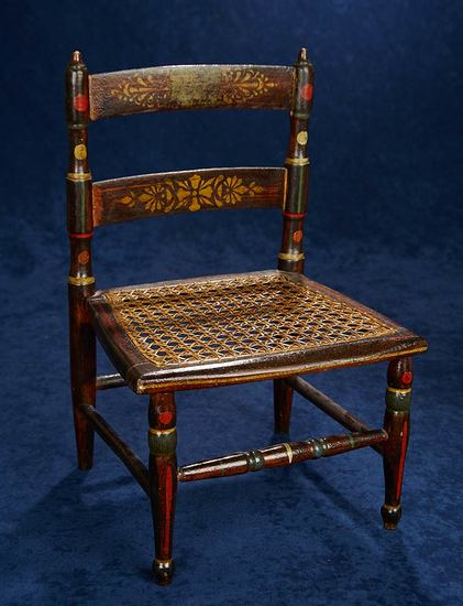 Early American Wooden Chair with Stencil Designs 400/600