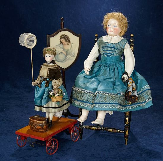 """All-Original French Pull-Toy """"Little Girl Catching Butterflies"""" 2200/2800"""