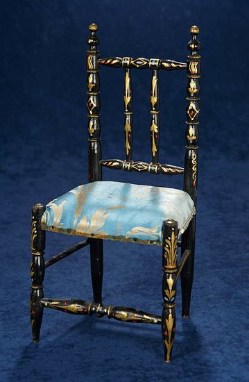 French Wooden Doll Chair with Gilt Stencils and Silk Seat 400/500