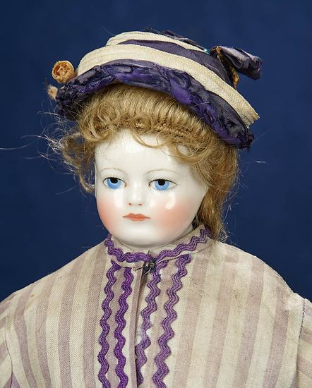 French Porcelain Poupee attributed to Blampoix with Lovely Antique Costume 2200/2800