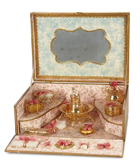 """Very Luxurious French """"Service Toilette"""" with Gold-Trimmed Glassware 600/900"""