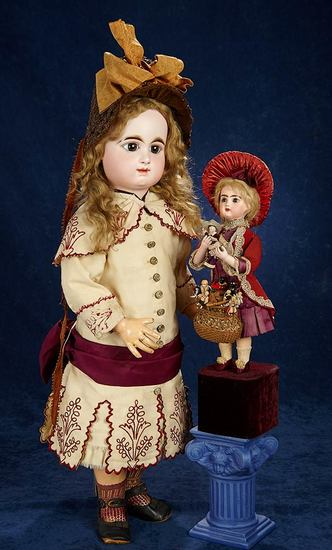 French Bisque Brown-Eyed Bebe by Rabery and Delphieu in Beautiful Dress 3000/4000