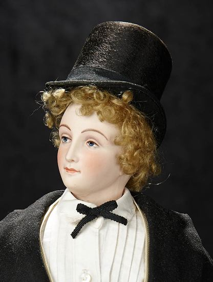 Extraordinary Rare French Bisque Gentleman Poupee with Wooden Body, Painted Eyes 8000/12,000