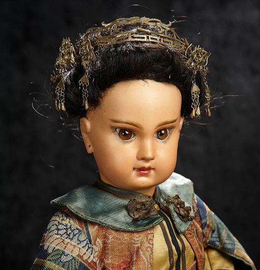 French Bisque Bebe by Emile Jumeau as Asian Child, Original Couturier Costume s 25,000/35,000