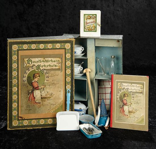 German Boxed Set of Doll's Kitchenware and Cooking Book in Original Box 700/900