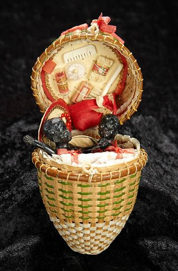All-Original Woven Presentation Basket with Black Bisque Babies and Accessories 1200/1600