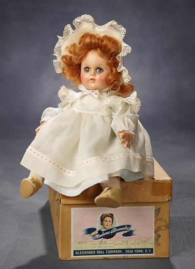 "Composition ""Baby McGuffey"" in Original Cotton Bretelle Dress and Bonnet with Box 300/400"