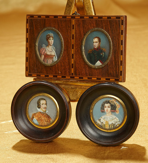 Early-1800s Miniature Portrait Paintings Including Napoleon and Josephine 600/900