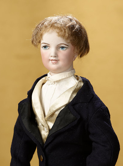French Bisque Smiling Gentleman Poupee with Wooden Body by Prevost-Huret  7000/9500