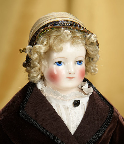 Beautiful French Porcelain Poupee with Rare Huret Kid Body Signature 3500/5500