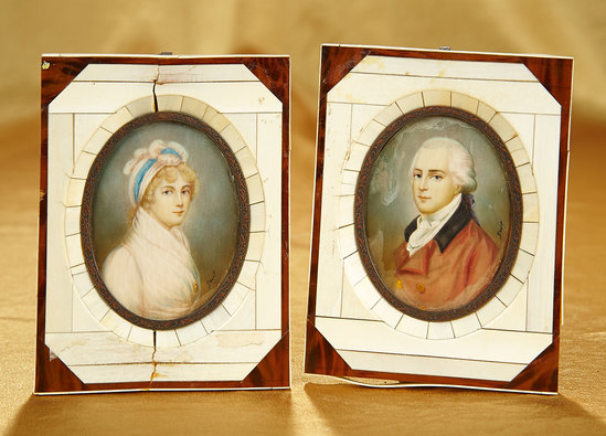 English Miniature Portraits of Honorable and Mrs. Edward Perceval by John Smart 1200/1600