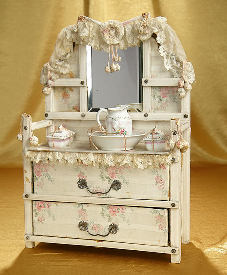 Dainty French Toilette Table with Porcelain Wash Set 500/800
