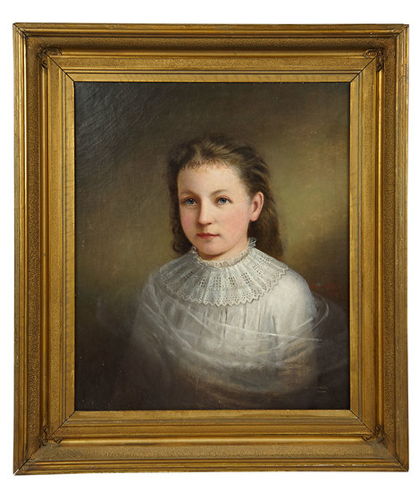 """American Oil Painting """"Young Girl in White Dress"""" by Anson Daniels, 1877 3000/5000"""
