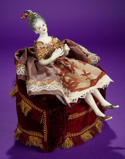 "German Porcelain Half-Doll ""Seated Lady in Velvet Chair"" 600/900"