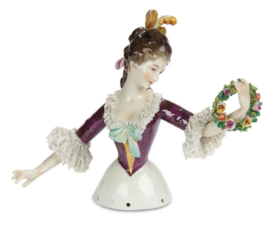 """Extraordinary German Porcelain Half-Doll """"Lady with Floral Wreath"""" Aelteste Volkstedter 800/1100"""