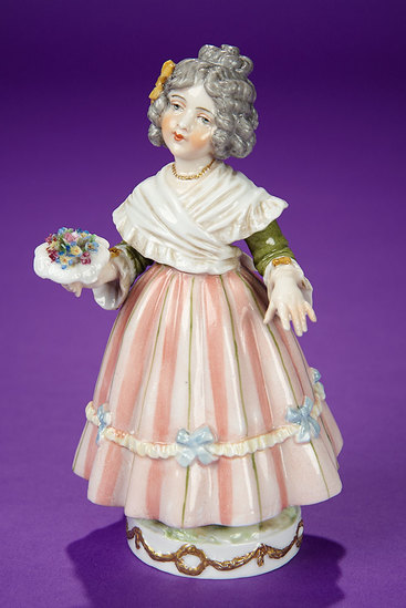 """German Porcelain """"Young Girl with Bouquet"""" by Dressel & Kister 400/600"""