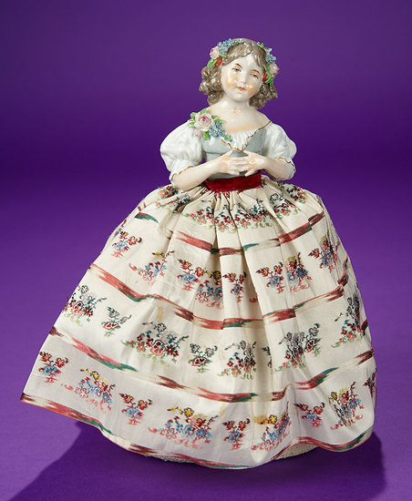 """German Porcelain Half-Doll Pincushion """"Young Girl with Clasped Fingers"""" by Dressel & Kister 700/900"""