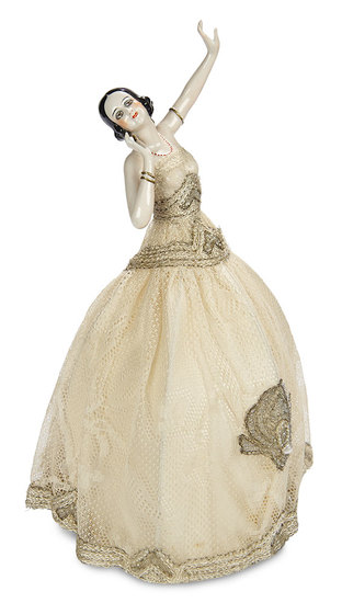 German Porcelain Half-Doll with Dramatic Eyes and Jewelry in Original Presentation 500/800