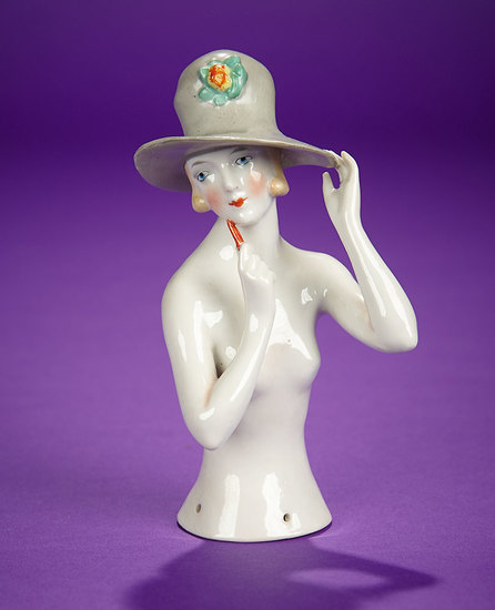 """Large German Porcelain Half-Doll """"Flapper Lady in Stylish High Top Hat"""" 300/500"""