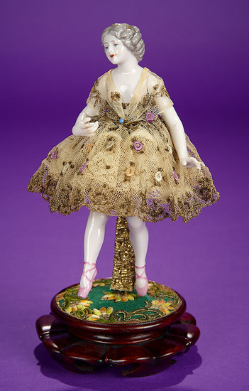 German Porcelain Ballerina with Jointed Arms by Dressel & Kister 500/800