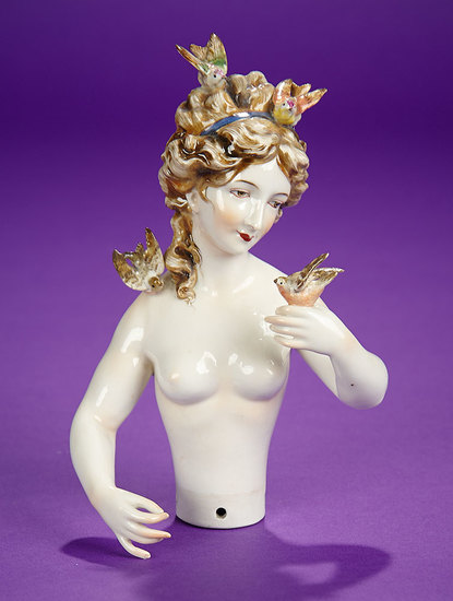 """German Porcelain Half-Doll """"Brown-Haired Lady with Four Birds"""" by Dressel & Kister 1200/1500"""