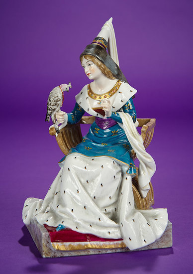 German Porcelain Figurine of Seated Lady with Falcon Medieval Series of Dressel & Kister 1100/1500