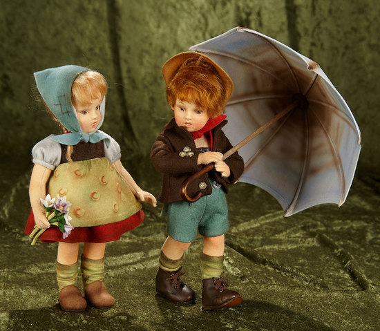 """Pair, 11"""" American dolls """"Marta"""" and """"Friedrich"""" Raindrops and Roses by R. John Wright. $800/1200"""