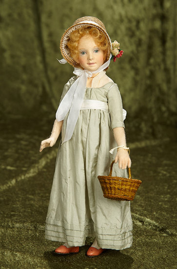 """11"""" American felt character """"Rebecca"""" from Springtime Frolics by R. John Wright. $400/500"""