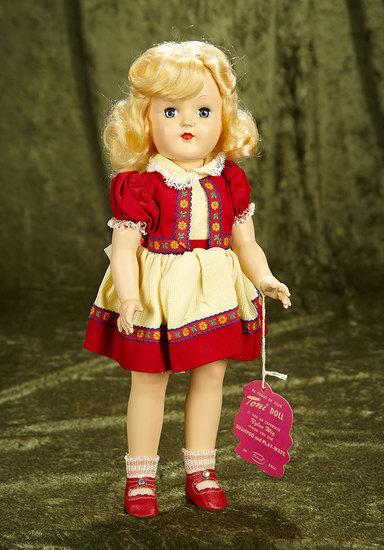 "15"" American hard plastic ""Toni"" by Ideal in original costume. $300/500"